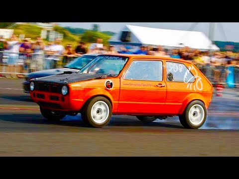 Vento4motion VR6 Turbo vs Turbo Gockel Golf 1 R36 Turbo Finale AWD Test and Tune Rothenburg 2013