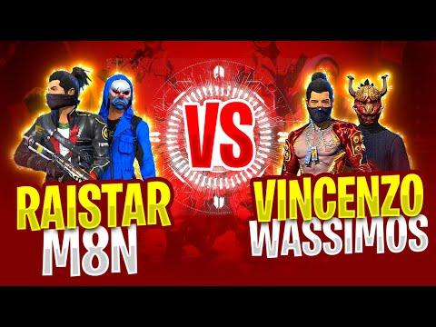 M8n, Raistar vs Vincenzo, wassimos    Free Fire friendly Clash squad Battle - Nonstop gaming