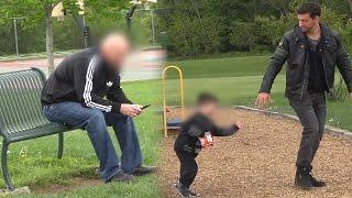 Gość porywa dziecko tuż przed jego tatą – eksperyment ku przestrodze!