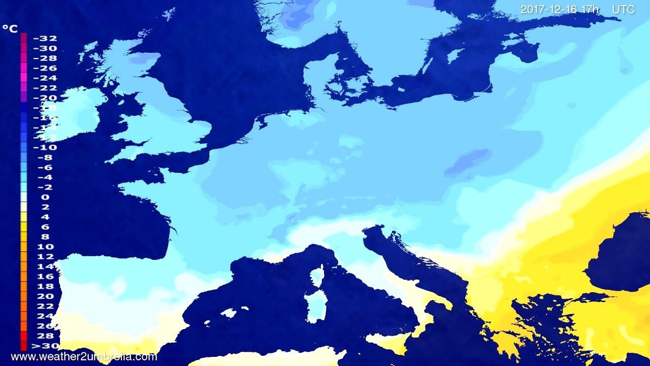 Temperature forecast Europe 2017-12-14