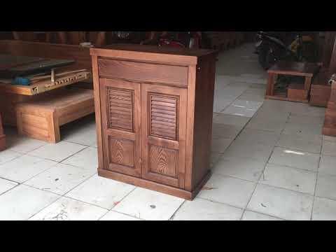 Tủ Giày Dép Gỗ Sồi Lau Màu Óc Chó 80cm