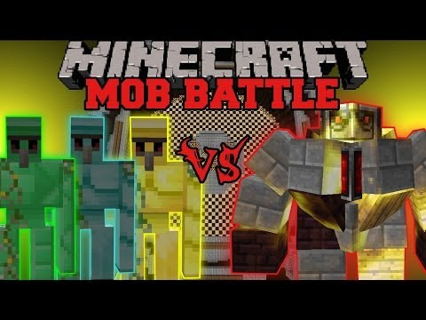 BIG GOLEM VS DIAMOND, EMERALD, AND GOLD GOLEMS - Minecraft Mob Battles - Mo' Creatures Mod