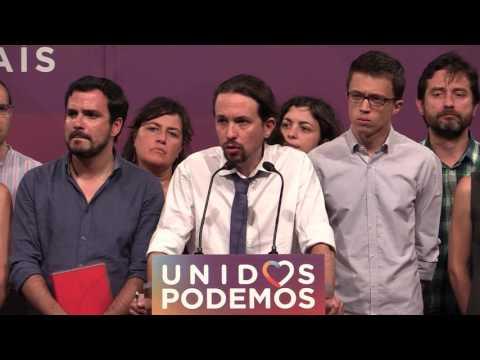 Rueda de prensa de Unidos Podemos tras el resultado de las elecciones del 26J