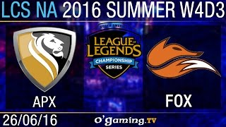 Apex vs Echo Fox - LCS NA Summer Split 2016 - W4D3