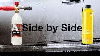 can you use a car shampoo for snow foam?can it foam? will it stick? this is the test!Snow foam is a prewash foam, sprayed onto the car to lubricate and dissolve as much dirt as possible, to help keep the infliction of swirl marks, scratches and abrasions to a minimum. after this, you can sprayed the car again with water/pressure washer, and continue washing by hand.EBAY. comNilfisk C110 : https://goo.gl/LbQuyAAutobrite Foam Lance : https://goo.gl/2WTMiJ----------------------------------------------------------------------------------------EBAY UKNilfisk C110 : https://goo.gl/Y7cR1aAutobrite Foam Lance : https://goo.gl/4hLEUc----------------------------------------------------------------------------------------AMAZON U.SNilfisk C110 : http://amzn.to/2cRD1HHother Foam Lance : http://amzn.to/2fI2W0v----------------------------------------------------------------------------------------AMAZON U.KNilfisk C110 : http://amzn.to/2cthFwcAutobrite foam lance : http://amzn.to/2eJNbFf----------------------------------------------------------------------------------------INDONESIAyg mau nitip beli produk dari autobrite atau ebayWhatsApp : +6281361330151----------------------------------------------------------------------------------------Snow Foam Tutorialhttps://www.youtube.com/playlist?list=PL0hmdwdvItIOP0JQZr0oLHwY-JtVfdcrcSnow Foam Shampoo Test Videohttps://www.youtube.com/playlist?list=PL0hmdwdvItIMpY1E_1574-m4msKlcRB3HCar Shampoo in snow foam lance testhttps://www.youtube.com/playlist?list=PL0hmdwdvItIMNJtwT8dHGRys_NSMjIPFpAuto Detailing Product Reviewhttps://www.youtube.com/playlist?list=PL0hmdwdvItINwDvIxPWpgYnAxj1qMSW-Q