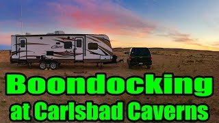 """As we settle into our boondocking spot in Carlsbad New Mexico, we are excited to go underground for the Carlsbad Cavern Cave tour! We give you a tour of our middle of nowhere boondocking camp spot, an update on our solar panels and take you with us for a quick tour underground. Did you know there is a restaurant, mailbox and gift shop 750 underground? Not only did we get to see another cave system, but our day was officially made when we were recognized by a fan from our YouTube channel! You guys made our day...thanks so much for watching!Our Boondocking spot GPS location:Carlsbad, NM 8822032.298959, -104.309081Don't forget, we are """"totally"""" social so check out the links below :http://www.totally-trailer.comEmail totallytrailer@gmail.comFacebook: www.facebook.com/totallytrailerTwitter: @totallytrailerInstagram: totally_trailerMusic is found on epidemicsound.com""""Under The Surface 6"""" Composer: Gunnar Johnsén*****List of items that appear in our videos:weBoost Connect 4G Cell Phone Signal Boosterhttp://amzn.to/2i5NpN0Amped Wireless High Power Wireless-N 600mW Smart Repeater and Range Extender (SR10000)http://amzn.to/2hdppmy100 Watt 12 Volt Monocrystalline Lightweight Solar Panelhttp://amzn.to/2hUKLJdGo Power! GP-PWM-30 30 Amp Solar Regulatorhttp://amzn.to/2hUHo53RV Flag Pole Kit Motorhome Flag Kit by FlagPole Buddy 22 Feethttp://amzn.to/2hUKia9Samlex PST-2000-24 PST Series Pure Sine Wave DC-AC Power Inverter, 2000W Continuos Power Outputhttp://amzn.to/2nNlwcbSamlex Solar RC-200 PST Series Remote Control for 1500-2000 Watt Modelshttp://amzn.to/2p42T3XDual USB Charger Socket Power Outlethttp://amzn.to/2nNhAbd12V Blue LED Digital Car/Auto Voltmeter Motorcycle Battery Monitorhttp://amzn.to/2neh0apTrojan Trojan 6 Volt Battery T-105http://amzn.to/2p47sevSingle 6V Snap-Top Battery Box for Automotive, Marine, and RV Batteries*****Camera Gear used in this video:SanDisk Extreme 500 Portable SSD http://amzn.to/2hVs5sNWD 2TB Black My Passport Ultra Portable External Hard Drive - U"""