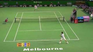 2007 Australian Open semifinal against Andy Roddick, second set. Watch and learn.