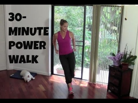 Indoor Walking Exercise – Full Length 30-Minute Power Walk (fat burning, walking workout)