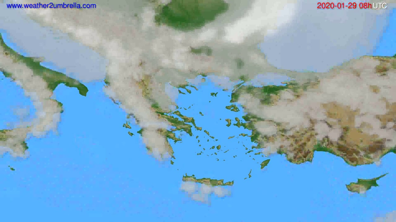 Cloud forecast Greece // modelrun: 12h UTC 2020-01-28