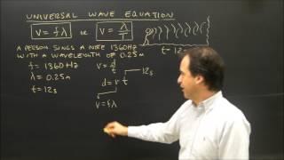 Wave Introduction Universal Wave Equation Sample Problem V=f*Lambda