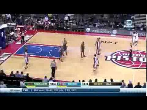 jennings - Milwaukee Bucks vs. Detroit Pistons (November 26, 2013). Before denying handshakes to his former team, Brandon Jennings gives the Palace a dribbling display.