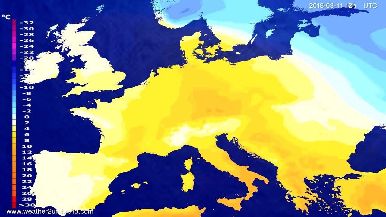 Temperature forecast Europe 2018-03-09