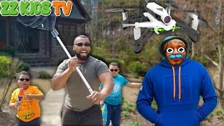 Drone Master Captured or Is He?  (Family Vlog Spy Skit With ZZ Kids TV)