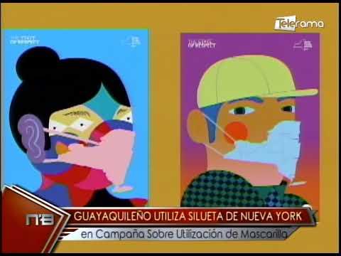 Guayaquileño utiliza silueta de Nueva York en campaña sobre utilización de mascarilla