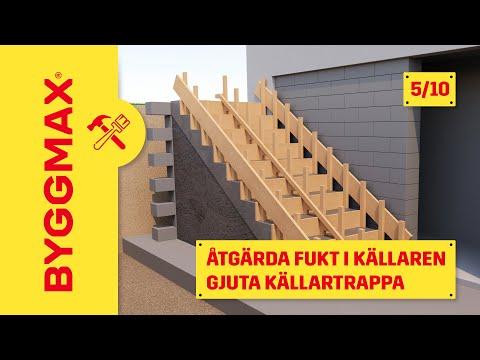 Del 5. Bygga gjutform, armera och gjuta trappa i betong - Åtgärda fuktproblem i källaren