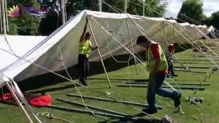 Traditional marquee erection at the Taunton Flower Show