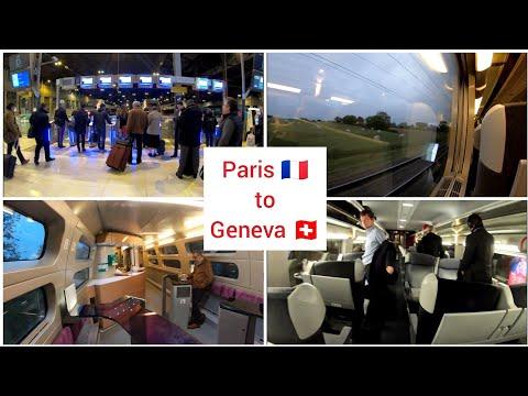 Paris to Geneva Switzerland with TGV Lyria, high speed train, First class 4K