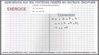Maths 5ème - Les nombres relatifs repérage Exercice 1