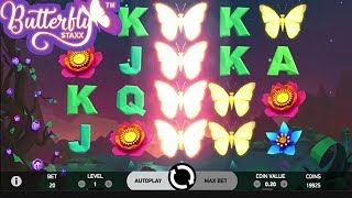 Butterfly Staxx Online Slot Full Review:http://online.casinocity.com/slots/game/butterfly-staxx/http://www.ThisWeekInGambling.com - Relive the magic of spring with the 5 reel, 20 line slot Butterfly Staxx! This beautiful slot features luminescent butterflies to light up your evening, amazing flowers with all shapes, patterns, and colors and opportunities to win big! If butterflies appear stacked up on one reel (Butterfly Staxx), they will work together to fill up as many reels as they can with more butterflies that grant re-spins until no more butterfly wilds appear on the spin, but this will lead into a big win!