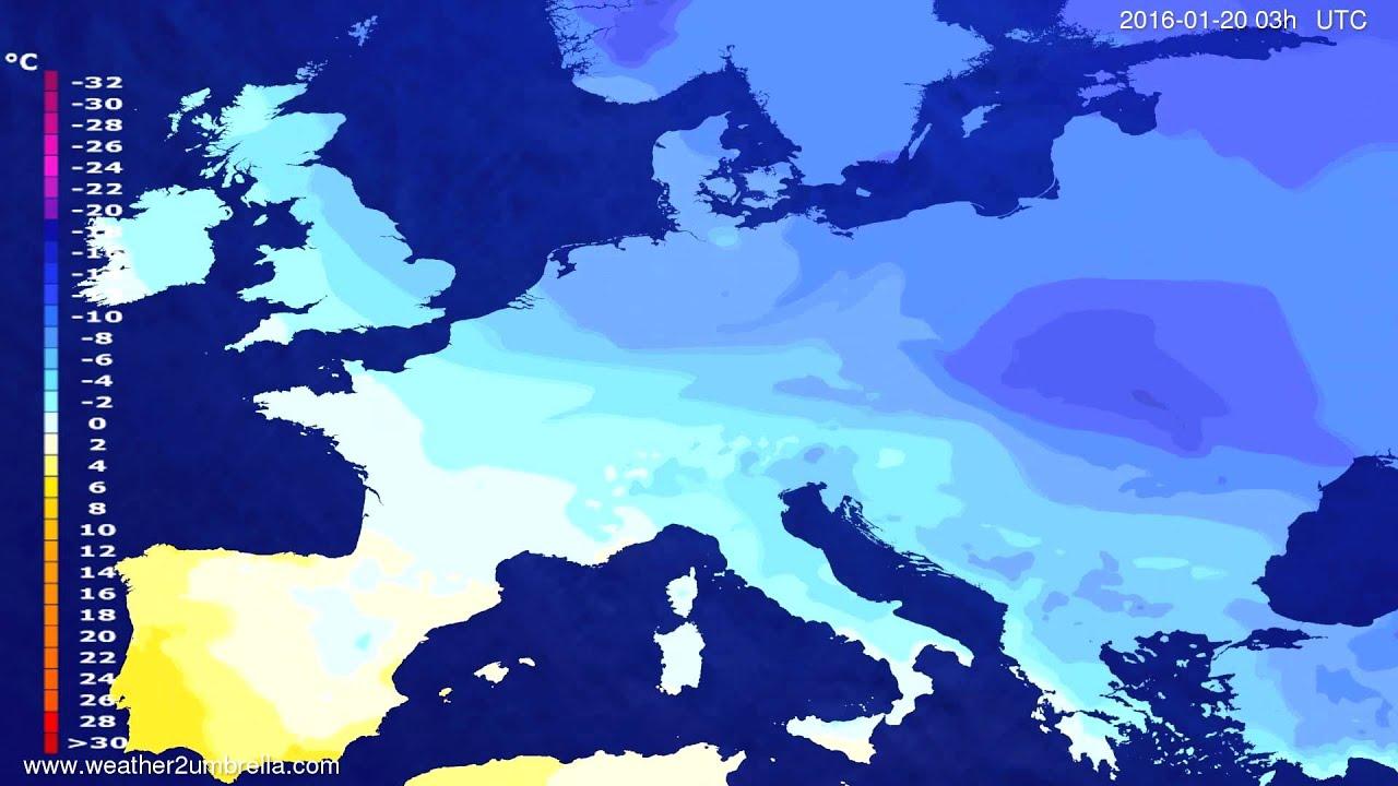 Temperature forecast Europe 2016-01-17