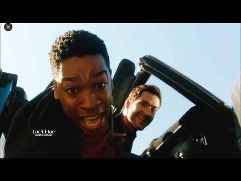 Lucifer 3x04 Luci Tries to Push Guy out of Car into a Cliff Season 3 Episode 4 S03E04