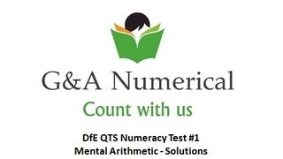 QTS Numeracy Test 01 (Mental Arithmetic) - Solutions In 18 Seconds!