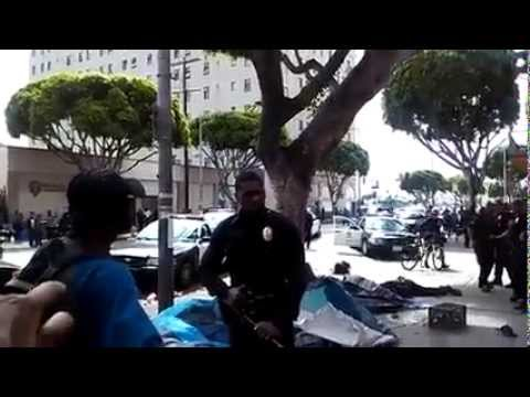 LAPD shoot homeless man in downtown LA 3/1/15