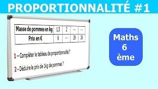 Maths 6ème - La proportionnalité 1 Exercice 6