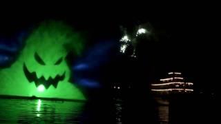 Disneyland Halloween Screams Fireworks 2009 - Rivers of America water screens.