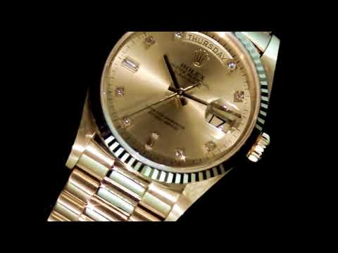 Men's 18k Yellow Gold Rolex Day-Date Automatic Wristwatch with Diamonds, with Box