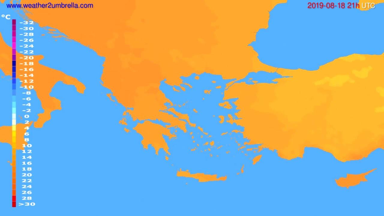 Temperature forecast Greece // modelrun: 00h UTC 2019-08-17