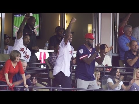 Watch as LeBron James and the NBA Champs cheer on the Cleveland Indians for Game 2 of the ALDS