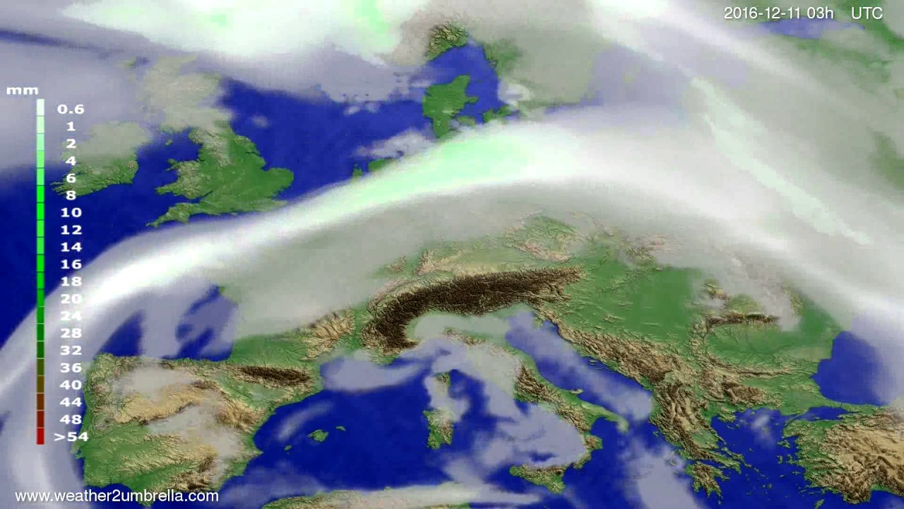 Precipitation forecast Europe 2016-12-08
