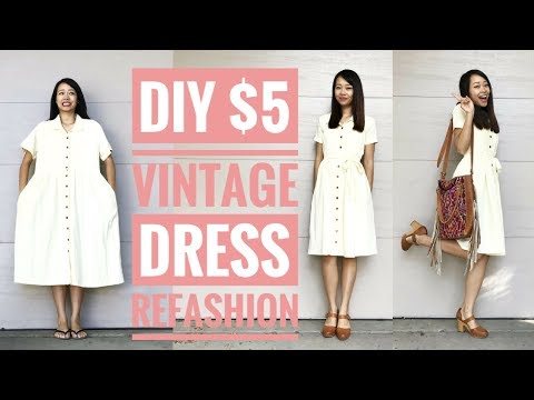 DIY: $5 VINTAGE DRESS REFASHION | How to Transform Old Clothes