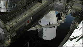 Time lapse of the NASA TV feed of the rendezvous, grapple, and berthing of the SpaceX Dragon CRS-10 spacecraft to the Node 2 module (