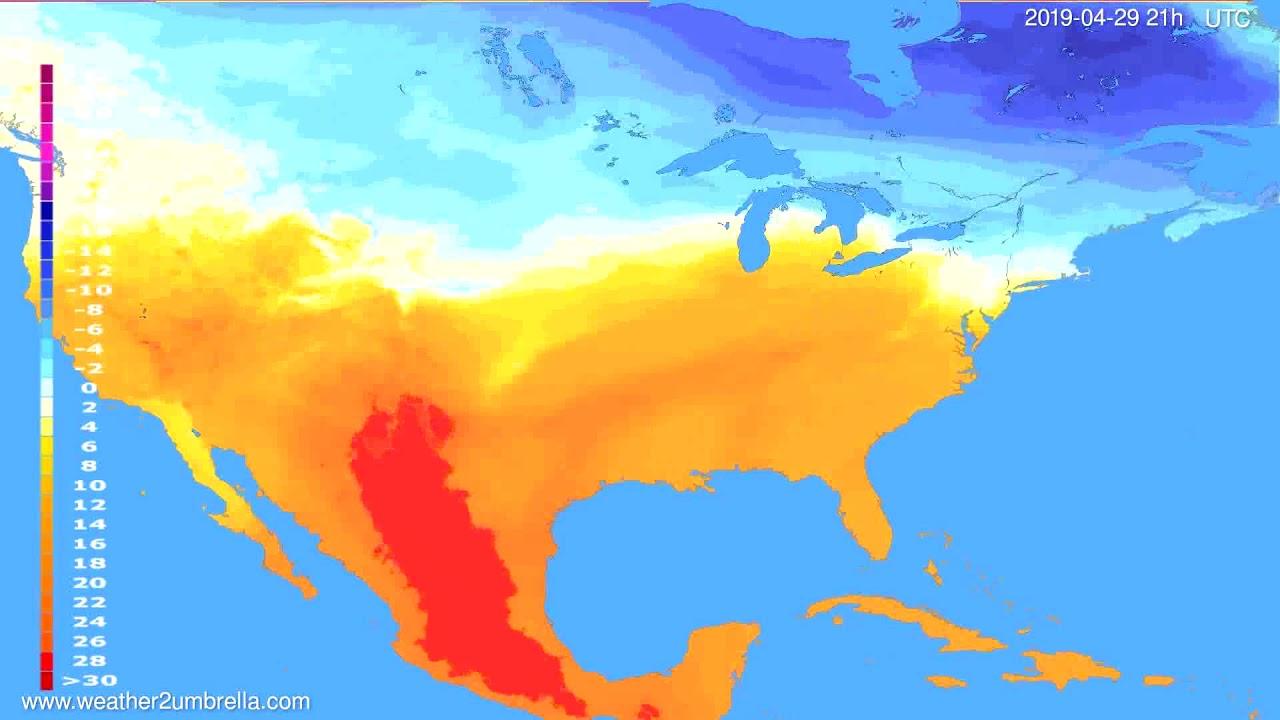 Temperature forecast USA & Canada // modelrun: 00h UTC 2019-04-28