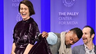 More from Entertainment Tonight: http://bit.ly/1xTQtvw The 'AHS: Roanoke' cast was super playful on stage at the event, but a couple of their exchanges seeme...