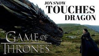 TITLE: Jon Snow Touches Dragon - Daenerys Targaryen - Game of Thrones Season 7 - 2017. Copyright Disclaimer Under...