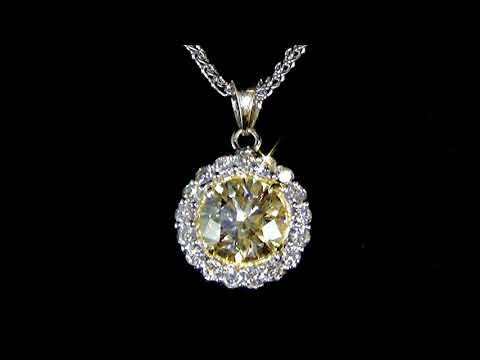 Lady's 14k White and Yellow Gold 3.08ct Fancy Light Brownish Diamond Pendant