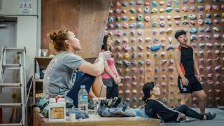 Inside look at Jain Kim rock climbing training in her family owned basement gym - rare by Bouldering Vlog