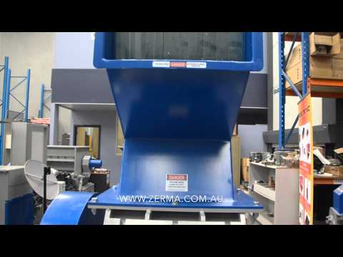 Zerma GSE-500/500 Granulator processing 800kg/hr HDPE Drums through 10mm screen