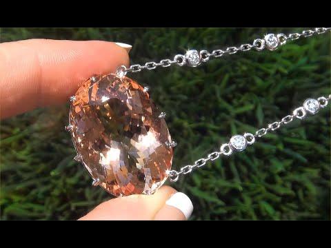 GIA Certified Pinkish Orange Morganite & Diamond Cocktail Necklace 18k Gold 44.89 TCW - C483