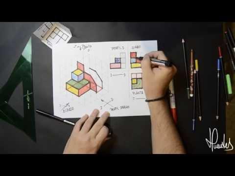 isometricos - Describe, mediante un ejemplo, como obtener la representación en perspectiva isométrica de un un objeto dadas las vistas (alzado, planta y pefil) de éste.