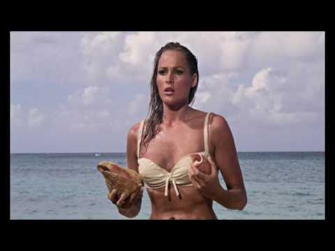 Ursula Andress on the beach - famous James Bond scene from Dr. No (1962)