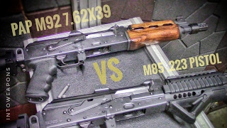 Recoil, Handling, and Accuracy Comparison between the Zastava M92pv PAP and M85 PAP AK-47 Pistols in 7.62x39 (https://goo.gl/G3xJzs).  Both Pistols are Serbian made and imported by Century Arms.Check out Below for Helpful Links and More Videos!Overall Recoil and Handling would need to go to the PAP M85 Pistol in .223/5.56.  I feel less muzzle rise, pushing recoil, and am able to find a follow-up sight picture quicker.  Accuracy is hard to compare at 25 yards, but I would have to assume the M85 .223 round would outperform the M92 in a bench test.I will say that the M85 will inherently perform better due to having an angled foregrip as well, which always assists in handling improvement.  Both Pistols had the Manticore Arms AK-47 Nightbrake Compensator being used (https://goo.gl/Kogu1C), as well as arm brace attachments.The PAP M92 was not far from the M85 in most all categories of comparison, the differences really being irrelevant.  I would have to assume stopping power would easily go with the 30 caliber 7.62x39 M92 pistol.  The action on the M92 using the 7.62 round, would also be naturally more reliable than its counterpart.  Ammo is also cheaper, which is a huge factor in buying a firearm for me.What do you think, Zastava M92 or M85?HELPFUL LINKS: **7.62mm Tactical Micro Tool:  https://goo.gl/G3xJzs *Manticore Arms AK-47 Muzzle Brake:  https://goo.gl/Kogu1C--PLAYLIST on all Zastava PAP Rifles and Pistols: https://goo.gl/dgZvnyThanks for Watching, and don't forget to Like, Share, and Subscribe!  MOST POPULAR Videos:  https://goo.gl/UqPGF3ALL PLAYLISTS:  https://goo.gl/jYIdR0 FIND IntoWeapons HERE:Facebook:  https://www.facebook.com/IntoWeapons/Google+:  http://plus.google.com/+intoweaponsInstagram: http://www.instagram.com/intoweapons/ SPONSORS of IntoWeapons:--Family Shooting Academy, Green Bay WI - Public Indoor Range:  https://goo.gl/m46Pmz                                           All Rights Reserved © 2017 IntoWeapons – Duplication, transfer or reuse of this 