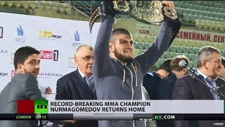 Video 'I hope I met your expectations': Khabib Nurmagomedov gets hero's welcome MP3, 3GP, MP4, WEBM, AVI, FLV Oktober 2018
