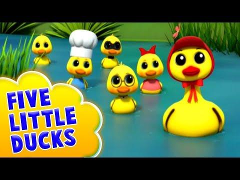 Fünf kleine Enten | Kinderreim für Kinder | Reime in Deutsch | Five Little Ducks