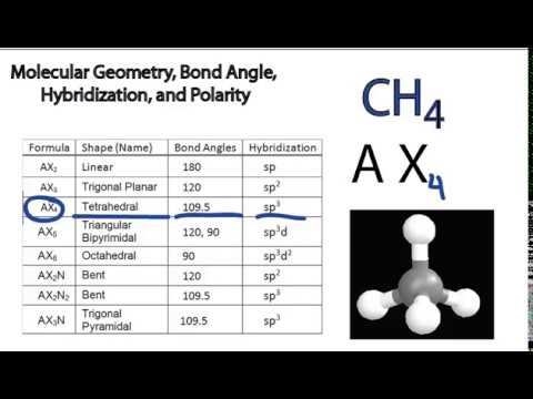 Molecular Geometry, Bond Angle, Hybridization, and Polarity: Examples