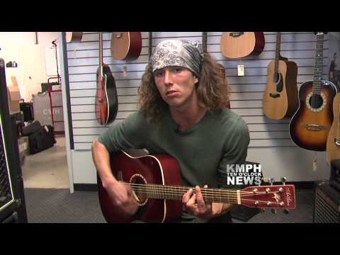 Wielding - KMPH NEWS EXCLUSIVE- We caught up with Kai the hatchet wielding hitchhiking hero on his life journey. Kai decided to showcase his musical talent with this or...