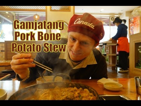Eating Korean Pork Bone Soup
